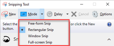 snipping tool four modes