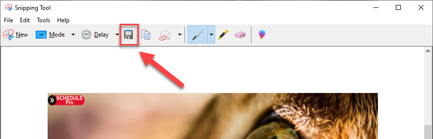 save image from snipping tool