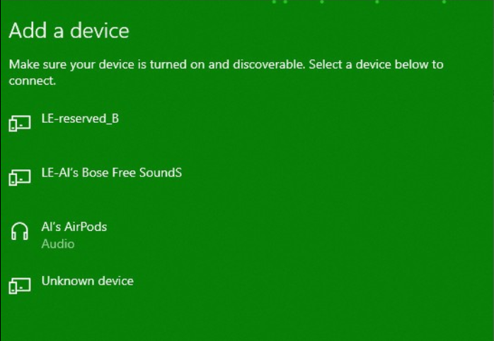 discovered bluetooth device