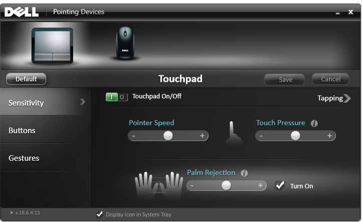 touchpad in dell properties