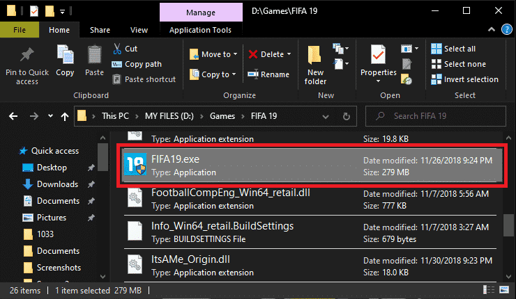 FIFA19 in file explorer
