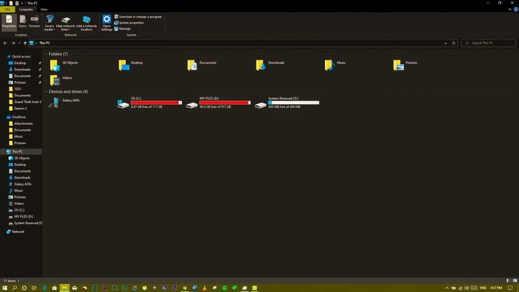 file explorer with night light turned on