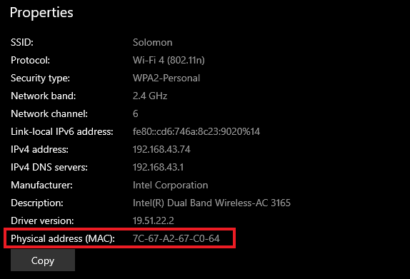 physical/mac address in windows properties