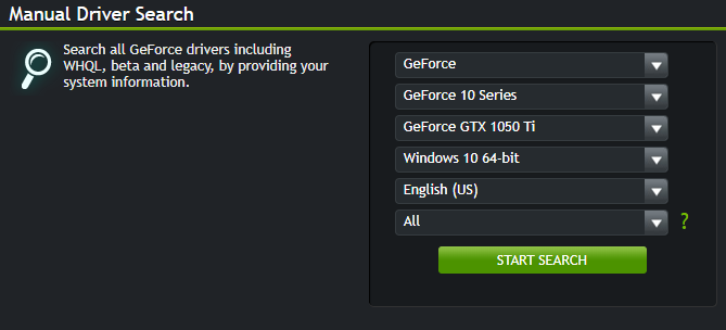 manual driver search for nvidia graphics driver
