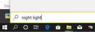 searching for night light in windows search