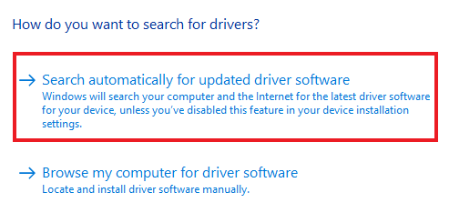 search automatically for update driver software