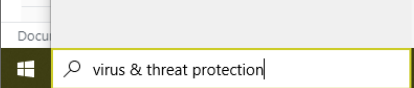 virus and threat protection windows search