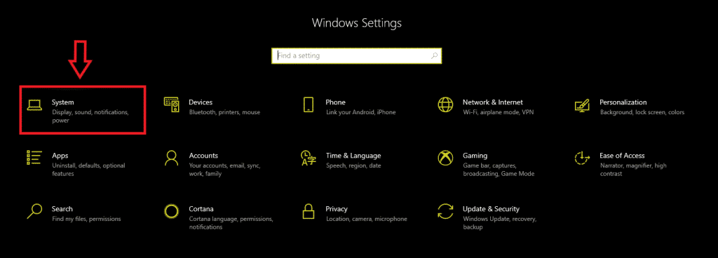 system in windows settings