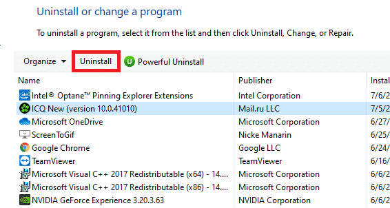 uninstall program in programs and features