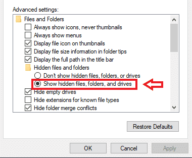 show hidden folder in file explorer options on windows 10