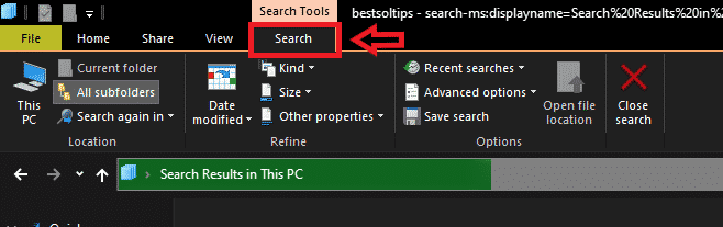 Search tab in file explorer on windows 10