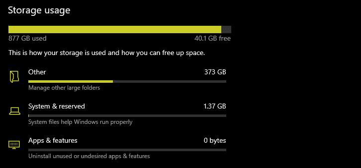 storage usage for another drive in windows 10