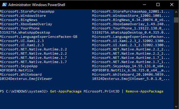uninstalling programs with windows powershell