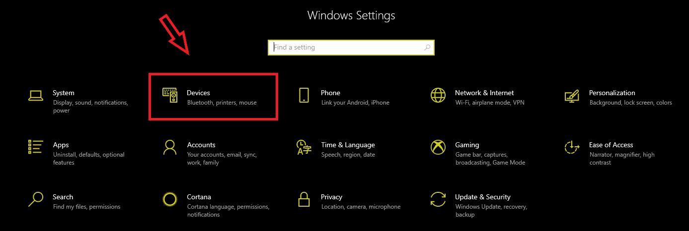devices in windows settings