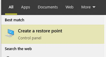 result for create a restore point