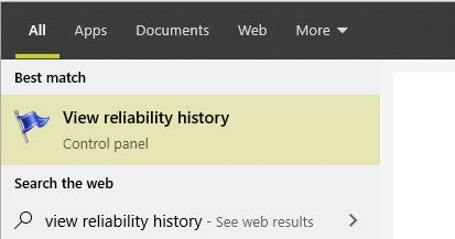 view reliability history in search result