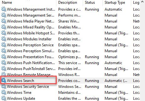 windows search in services