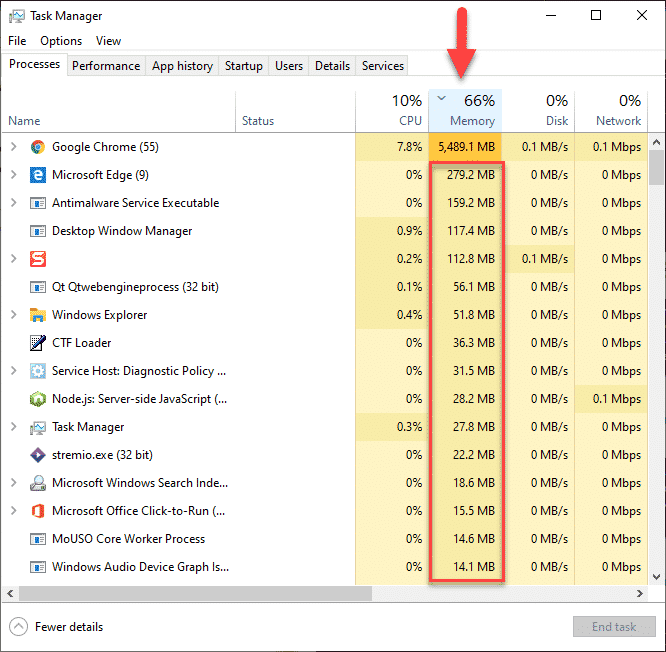 task manager memory section
