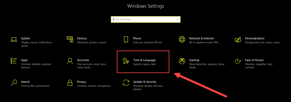time and language windows settings