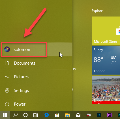 user account in start menu