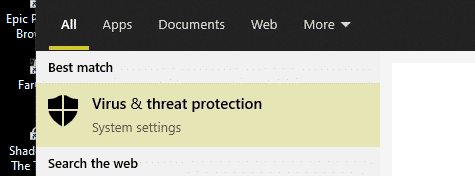 virus and threat protection windows search result