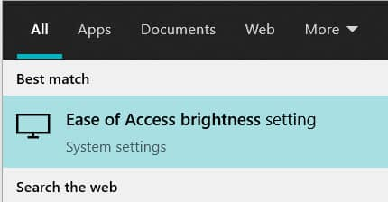 Ease of access in windows search results